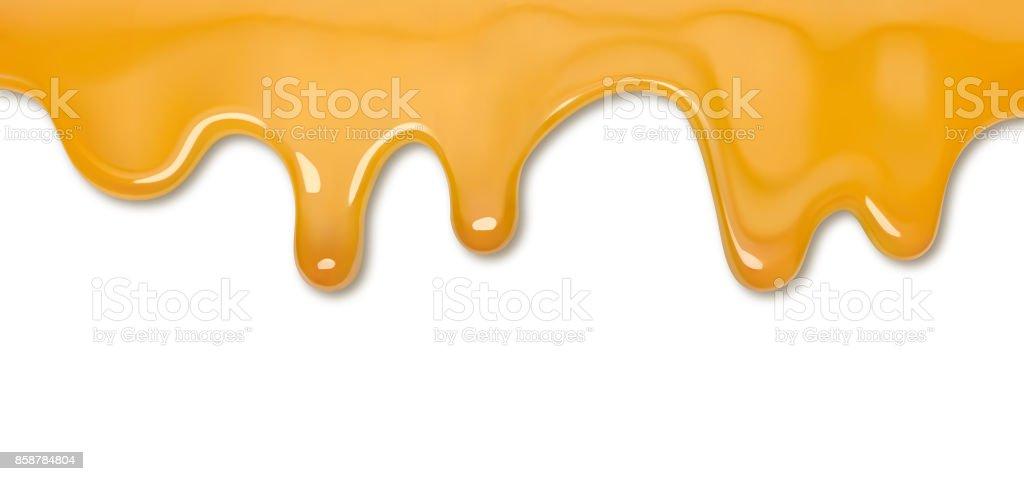 Dripping honey vector art illustration