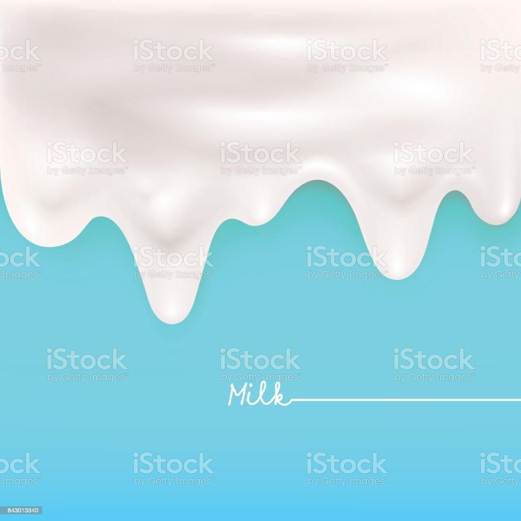 Dripping milk vector art illustration