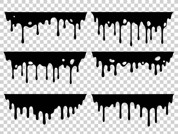 Dripping oil stain. Liquid ink, paint drip and drop of drippings stains. Black resin inked drops isolated vector silhouette set Dripping oil stain. Liquid ink, paint drip and drop of drippings stains watercolor splash, blood or sauce spray. Black drips resin inked drops isolated vector symbols silhouette set melting stock illustrations