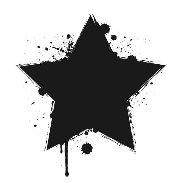 tropfen farbe oder schwarzer sternbürstenstrich isoliert auf weißem hintergrund. - graffiti schriftarten stock-grafiken, -clipart, -cartoons und -symbole
