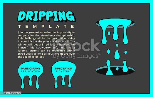 istock Dripping Paint Splatter and Goo Flyer or Poster Template in Neon Turquoise Blue for Web Banner Event Promo or Social Media Post 1288038258