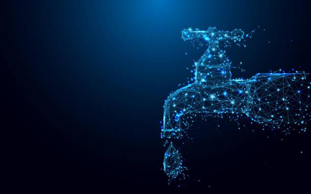 하강선 양식 및 삼각형, 포인트 파란색 배경에 네트워크 연결 탭 떨어지는 일러스트 벡터 - tap water stock illustrations