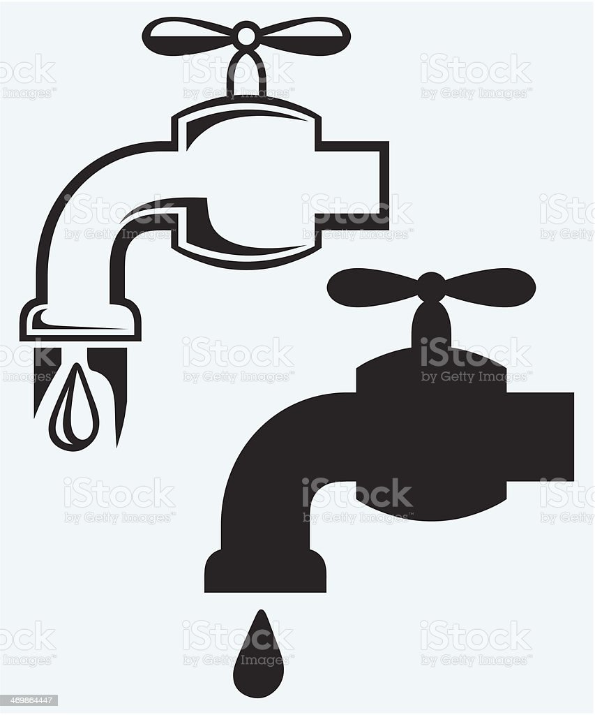 Dripping tap with drop royalty-free stock vector art