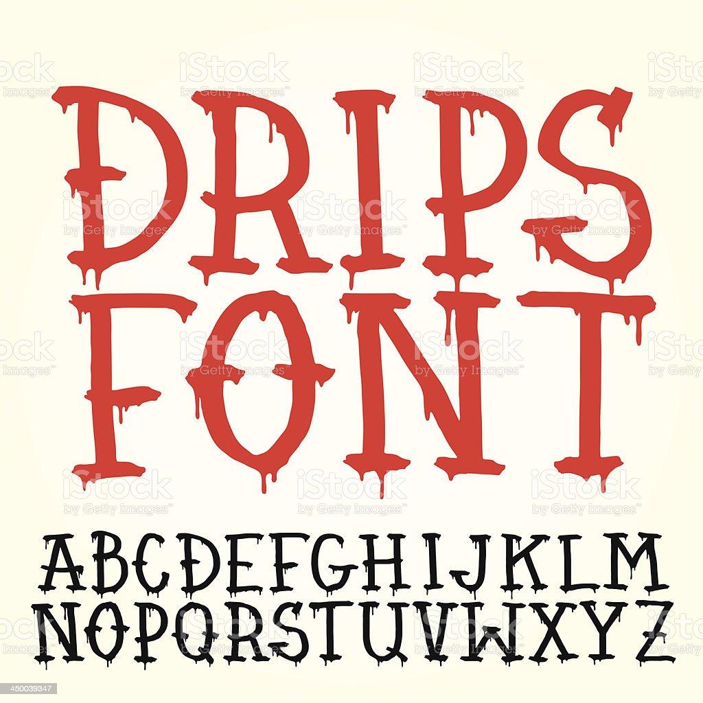 Drips font vector art illustration