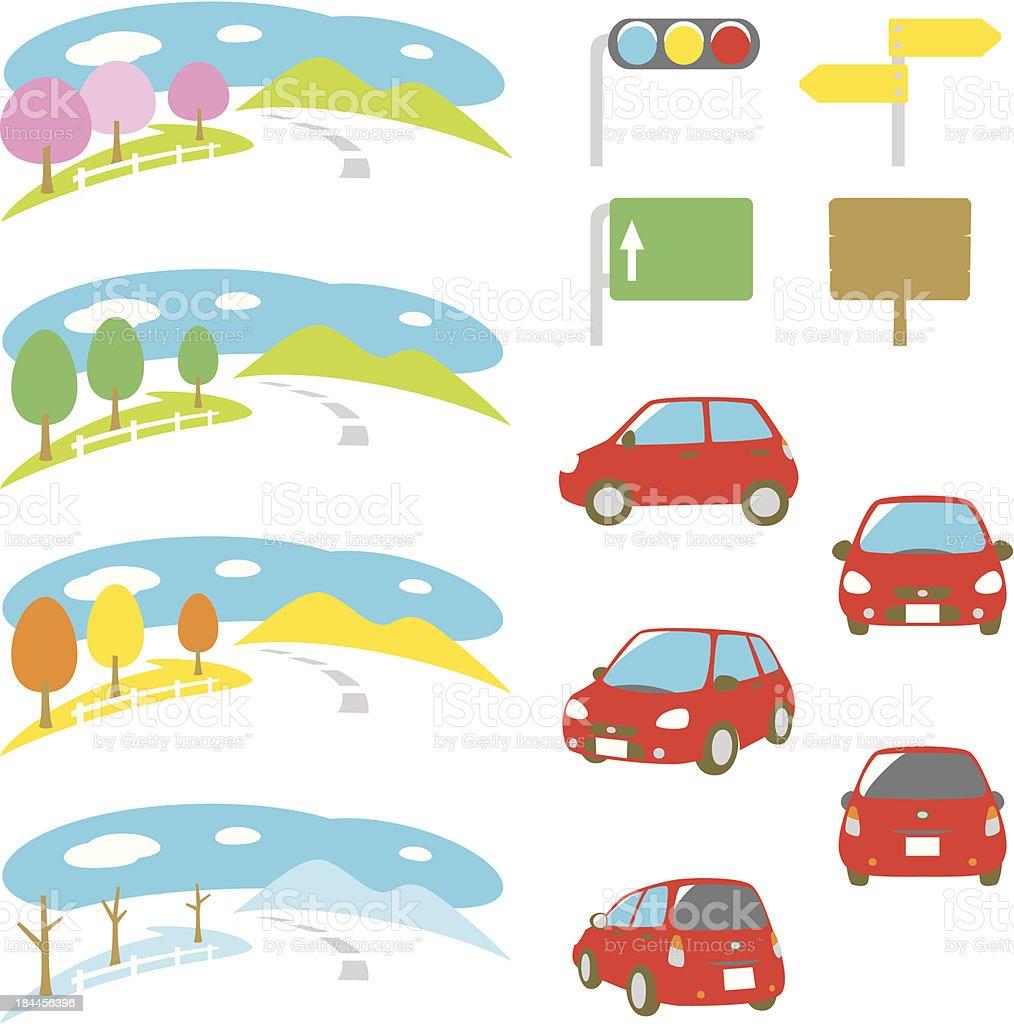 drive, car, scenery, four seasons, set vector art illustration