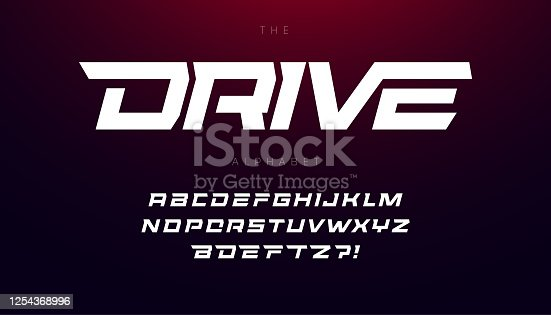 Drive font bold italic letters with dynamic slant and geometric cut for speed race, battle, fast delivery or fight poster driver alphabet vector typography design
