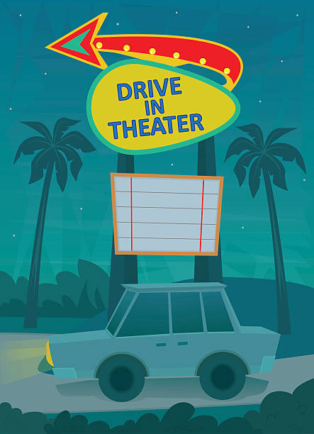 Drive In Poster vector art illustration