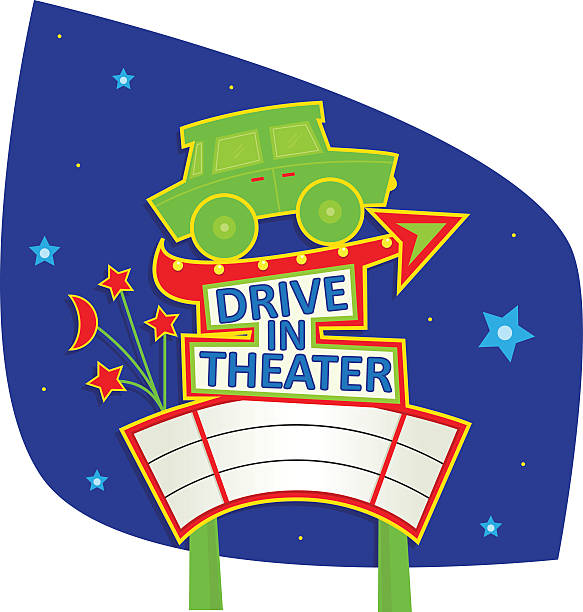 Drive In Theater Sign vector art illustration