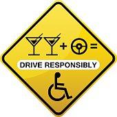 Drive responsibly road sign yellow
