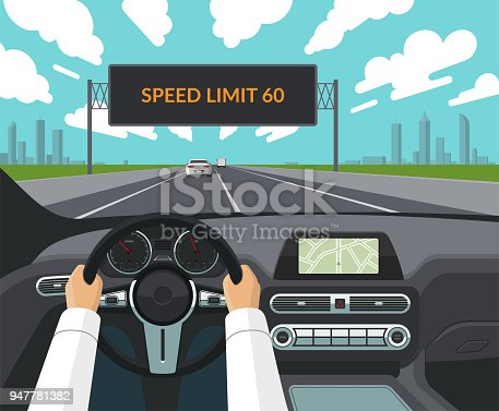 Drive safety concept. The driver's hands on the steering wheel, the dashboard, the car interior, the highway with traffic and the electronic billboard informating about speed limit. Flat style