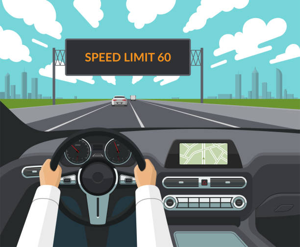 Drive safety concept. The driver's hands on the steering wheel, the dashboard, the car interior, the highway with traffic and the electronic billboard informating about speed limit. Flat style vector art illustration