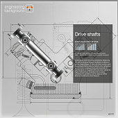 Drive shafts. Vector. EPS10.