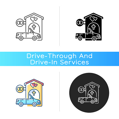 Drive through marriage chapel icon
