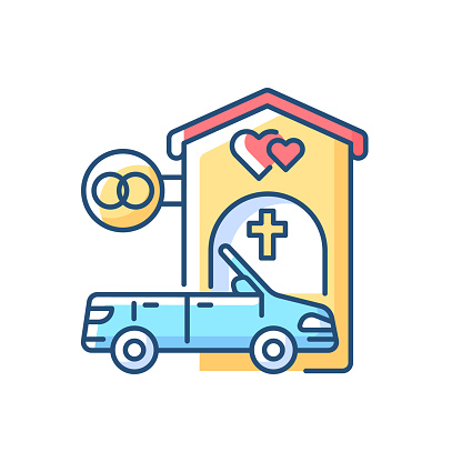 Drive through marriage chapel RGB color icon
