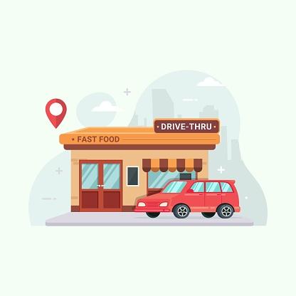 Drive thru fast food restaurant vector illustration cartoon