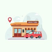 istock Drive thru fast food restaurant vector illustration cartoon 1277470622