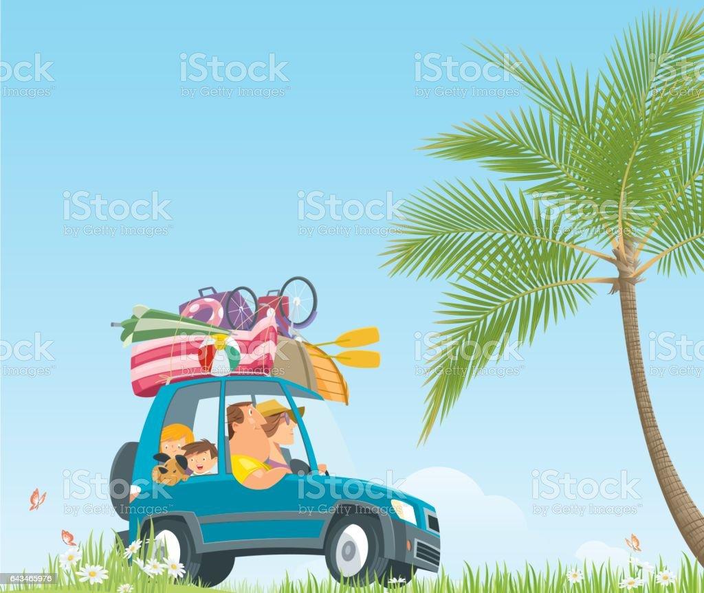 Vacaciones de verano en coche - ilustración de arte vectorial