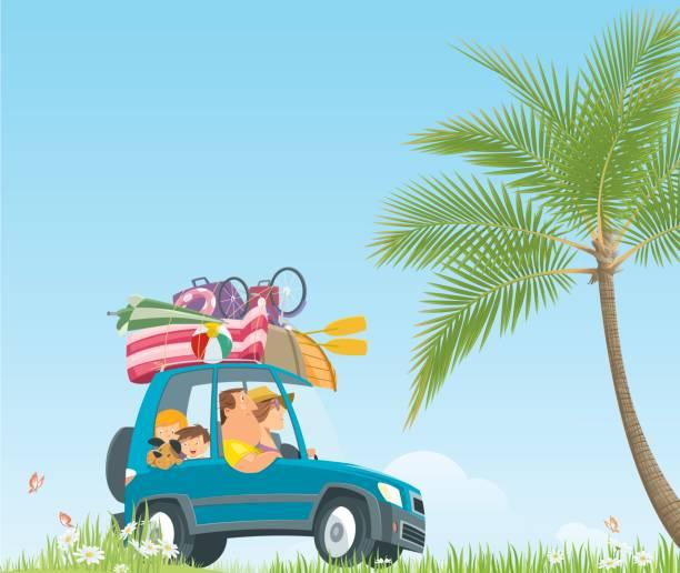 ilustraciones, imágenes clip art, dibujos animados e iconos de stock de vacaciones de verano en coche - viajes familiares