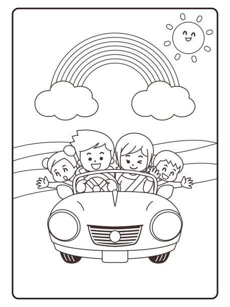 illustrazioni stock, clip art, cartoni animati e icone di tendenza di drive with family. coloring book - solo giapponesi