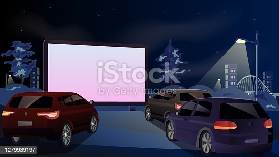 Drive-in cinema. Open-air cars are watching a movie on the movie screen. Open space auto theater. Night city with automobile outdoor parking. Film festival, city entertainment. Vector drawing. EPS