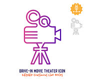 Drive-in movie theater vector icon illustration for logo, emblem or symbol use. Part of continuous one line minimalistic drawing series. Design elements with editable gradient stroke line.