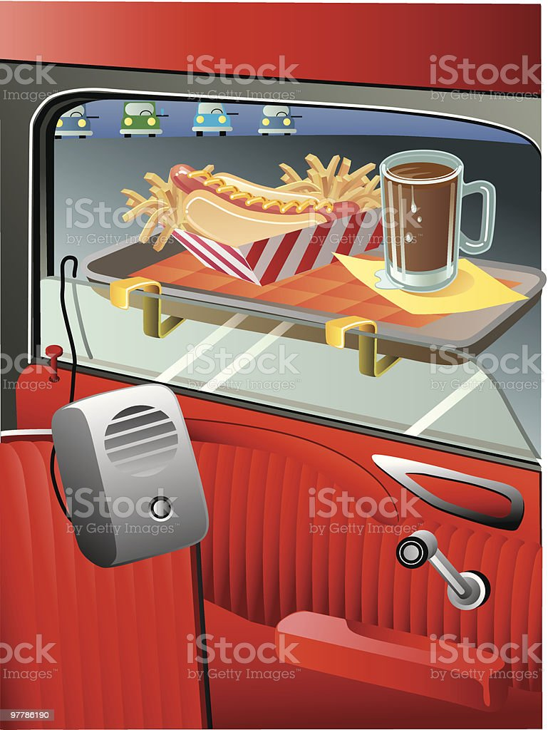 drive-in service royalty-free stock vector art