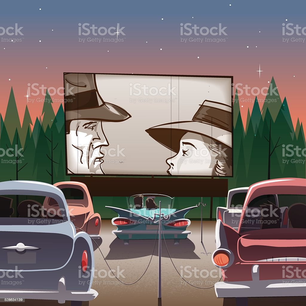 Drive-in theater vector art illustration
