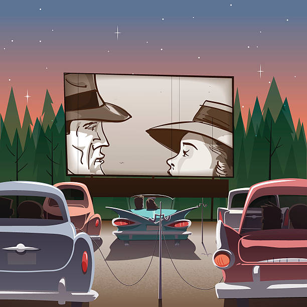 drive-in theater - date night stock illustrations
