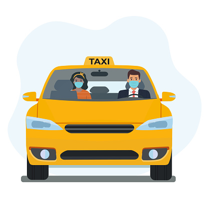 Driver and passenger in a medical mask in a taxi. Taxi service.Vector flat style illustration