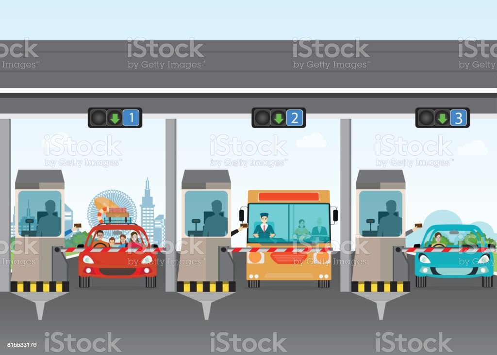 Driver cars passing through to pay road toll at highway toll booth. vector art illustration