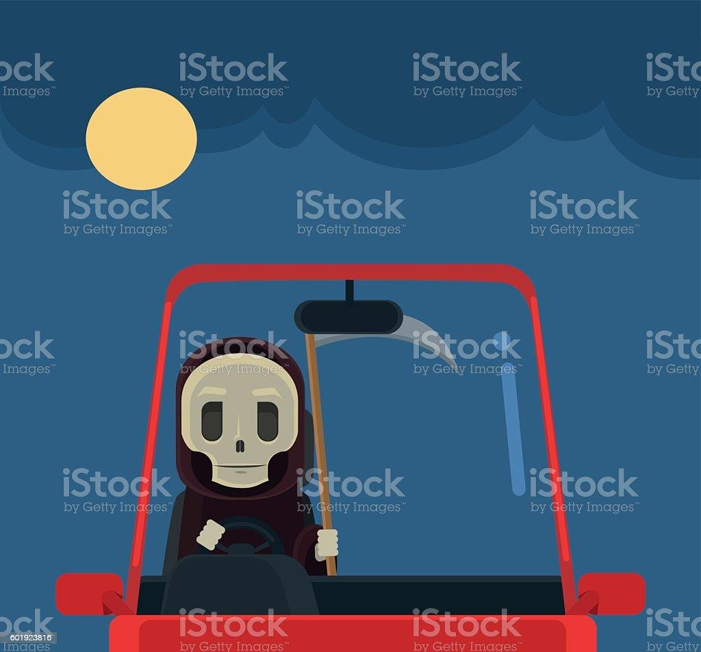 Driver death character. Vector flat cartoon illustration vector art illustration