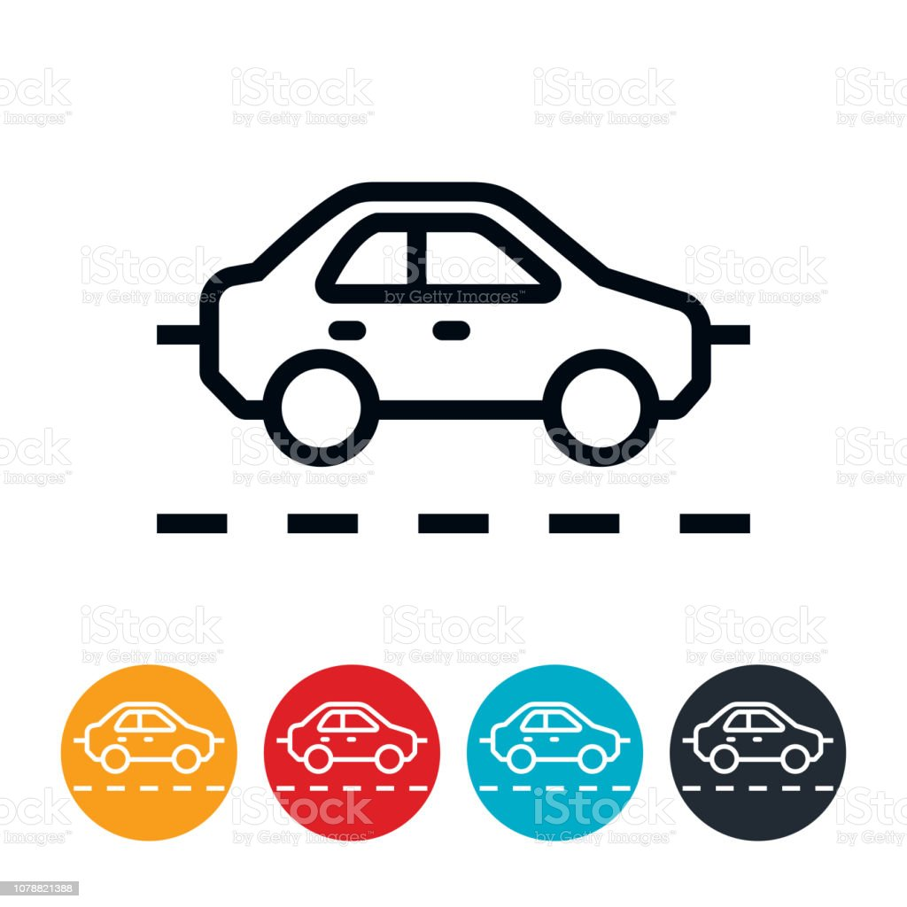 Driver Driving Car On Road Icon vector art illustration