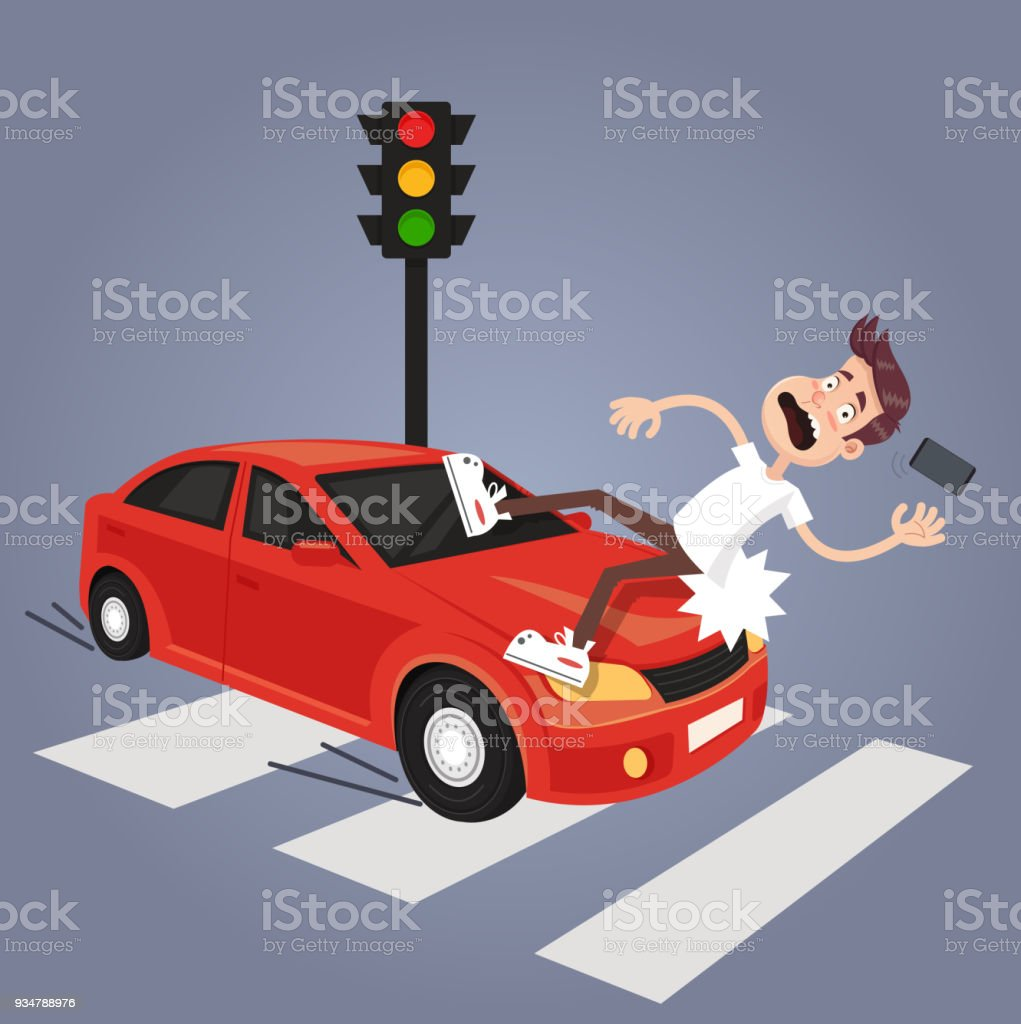 Driver hit careless man character with phone by car. Road car drunk driver and careless pedestrian accident concept vector art illustration
