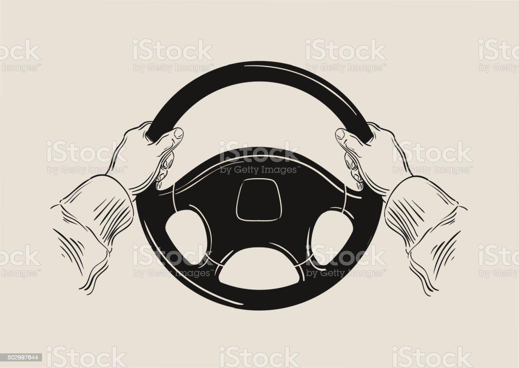 Le chauffeur tenant voiture de direction wheel. graphique vectoriel - Illustration vectorielle