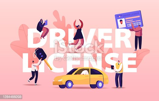 Driver License Concept. People Studying in School Learning to Drive Car. Male and Female Characters Passing Exams and Get Permission for Auto Owning Poster Banner Flyer. Cartoon Vector Illustration