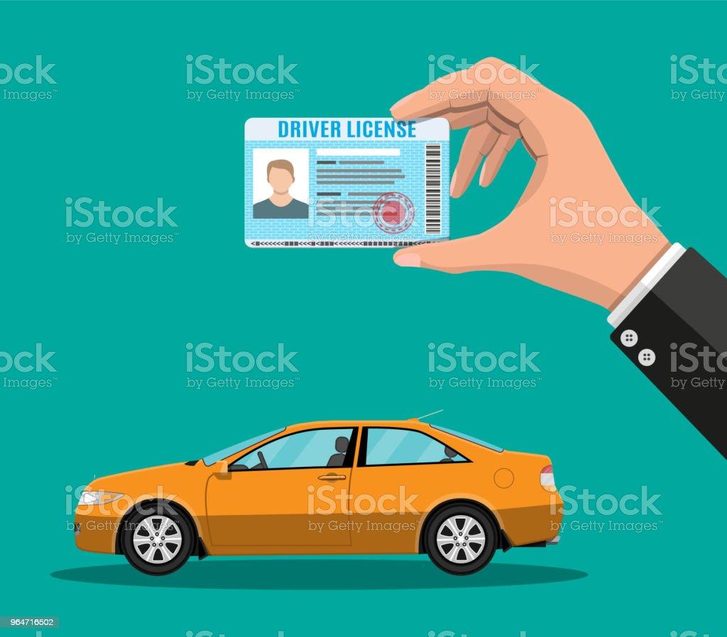 Driver license in hand and orange sedan car royalty-free driver license in hand and orange sedan car stock vector art & more images of bar code