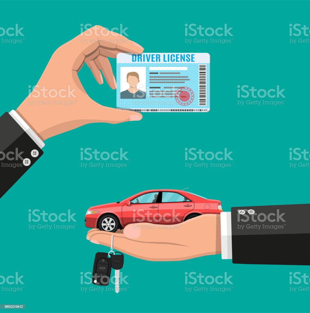 Driver license in hand and sedan car with keys royalty-free driver license in hand and sedan car with keys stock vector art & more images of alarm