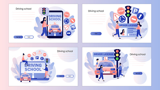 Driver license. Tiny people studying in driving school. Traffic rules. Road signs. Screen template for mobile smart phone, landing page, template, ui, web, mobile app, poster, banner, flyer. Vector