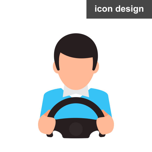 Driver man icon vector art illustration