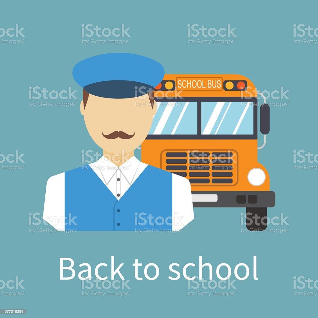 Driver of school bus. - ilustración de arte vectorial