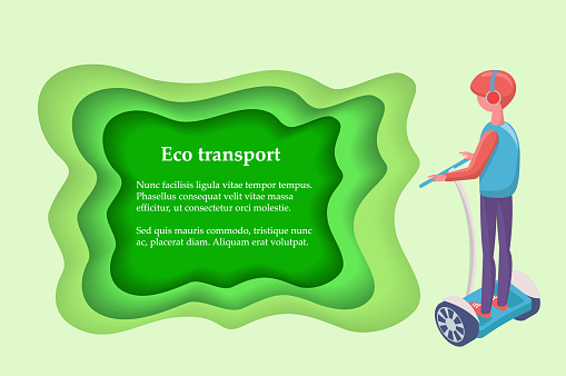 Driver on Segway, Eco Transport, Wheels Vector