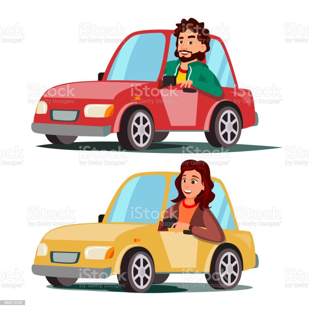Vecteur de pilote de personnes. Homme, femme assise dans l'Automobile moderne. Acheter une voiture neuve. Concept d'école de conduite. Heureux automobiliste femelle, mâle. Isolé de plate bande dessinée Illustration de caractère - Illustration vectorielle