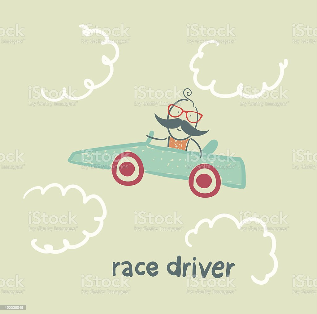 driver rides flies in the car royalty-free stock vector art