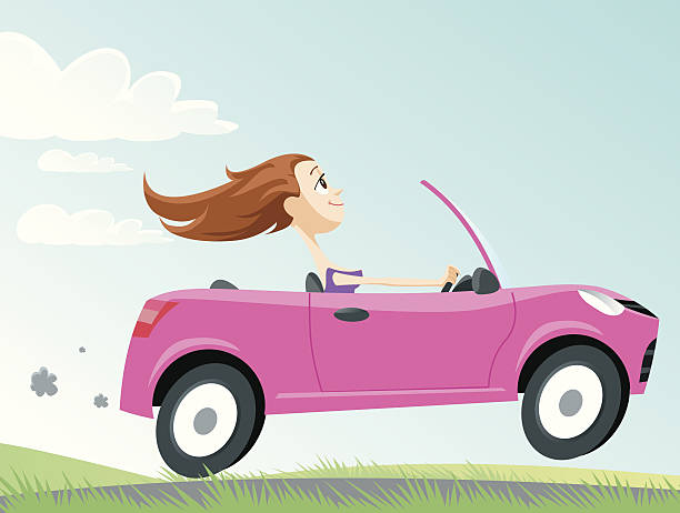 Driver Woman in car, vector convertible stock illustrations