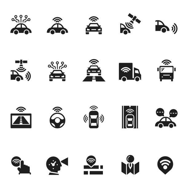 ilustraciones, imágenes clip art, dibujos animados e iconos de stock de iconos de coches autónomos sin conductor - vehículos sin conductor