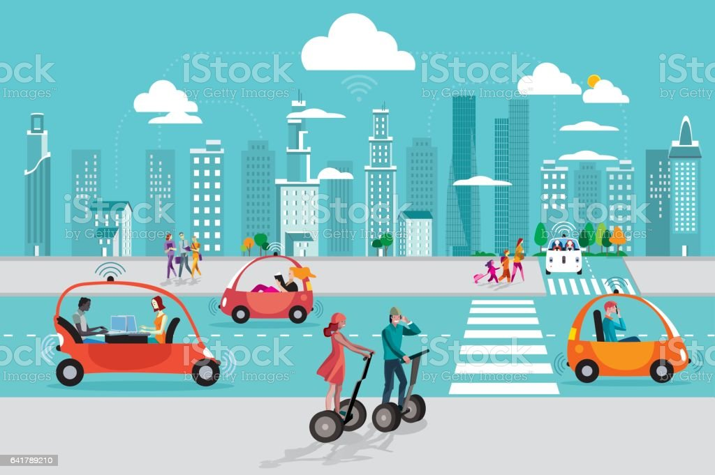 Driverless Autonomous Car in the City vector art illustration