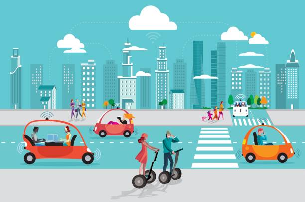 driverless autonomous car in the city - self driving cars stock illustrations, clip art, cartoons, & icons