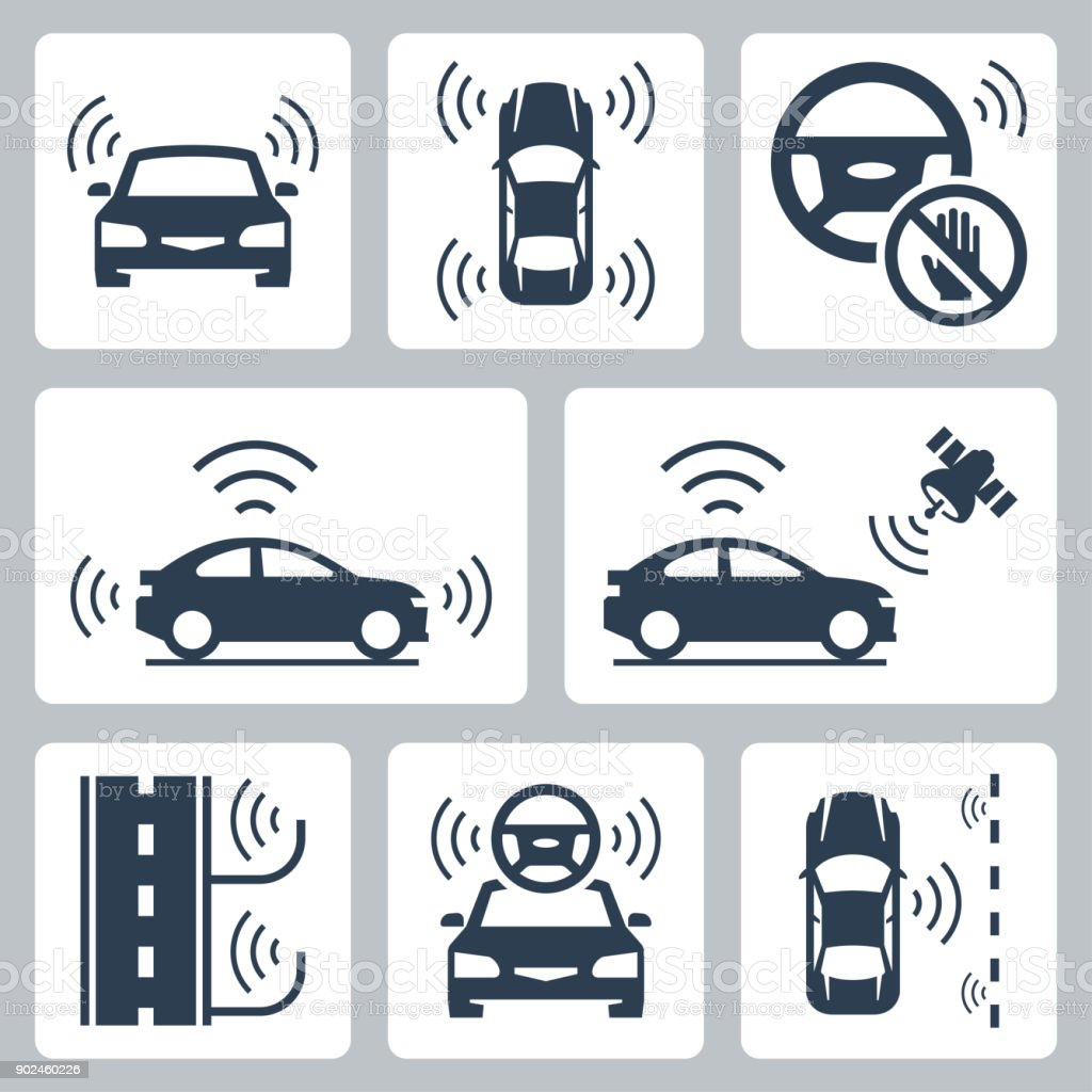 Driverless autonomous robotic car vector icon set - illustrazione arte vettoriale