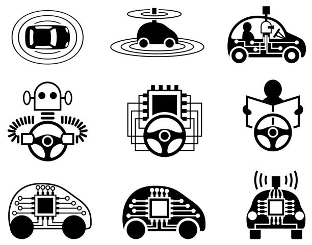 Driverless Car Icons Icon set of driverless car icons. Single color. Isolated. automobile industry stock illustrations