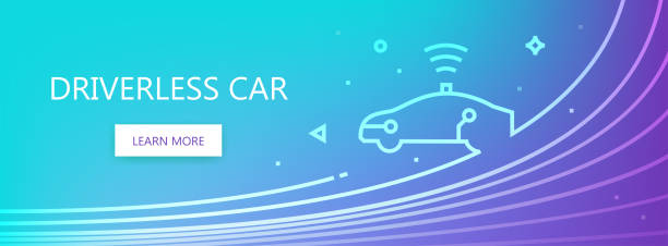 fahrerloses auto linie abbildung - selbstfahrende autos stock-grafiken, -clipart, -cartoons und -symbole